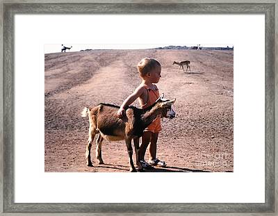Boy And A Goat Framed Print