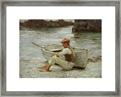 Framed Print featuring the painting Boy And Boat  by Henry Scott Tuke