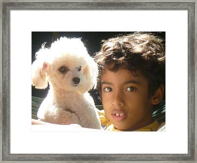 Framed Print featuring the photograph Boy And Dog by Beto Machado