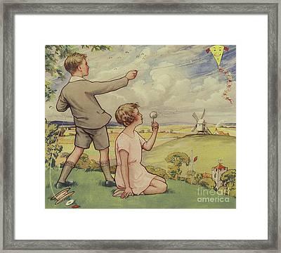 Boy And Girl Flying A Kite Framed Print