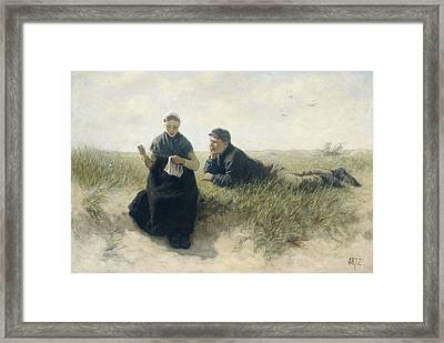 Boy And Girl In The Dunes Framed Print by Adolph Artz