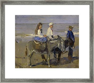 Boy And Girl Riding Donkeys Framed Print by Isaac Israels