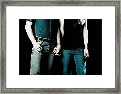 Boy And Girl Sitting In A ... Framed Print