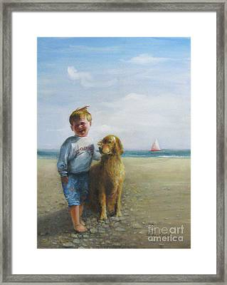 Boy And His Dog At The Beach Framed Print