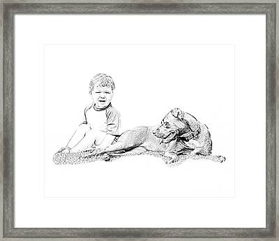 Boy And His Dog Framed Print by Ralph  Perdomo
