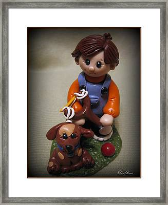 Boy And His Dog Framed Print by Trina Prenzi