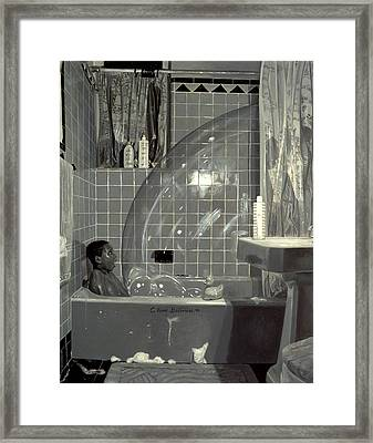 Boy And The Bubble Framed Print