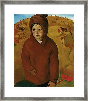Boy At Harvest Time Framed Print