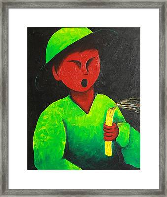 Boy Blowing Out Candle  1987 Framed Print by S A C H A -  Circulism Technique