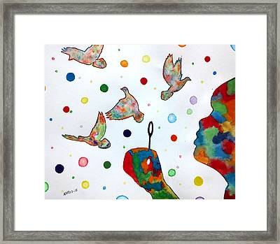 Boy Blowing Soap Bubbles And Doves Framed Print by Edwin Alverio