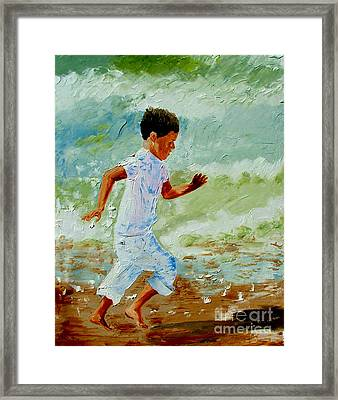 Boy By The Sea Framed Print by Inna Montano