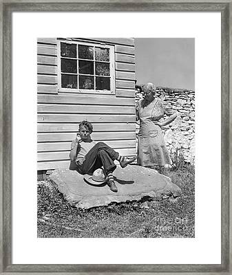 Boy Caught Smoking Pipe, C.1940s Framed Print