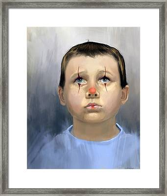 Boy Clown Framed Print