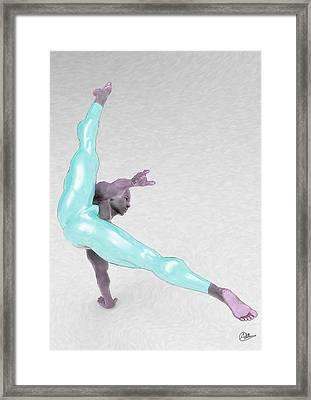 Boy Dancing Blue Framed Print