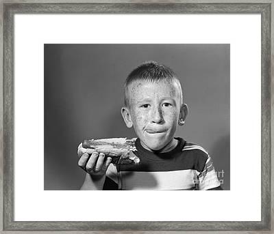 Boy Eating A Hot Dog, C.1950s Framed Print