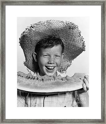 Boy Eating Watermelon, C.1940-50s Framed Print