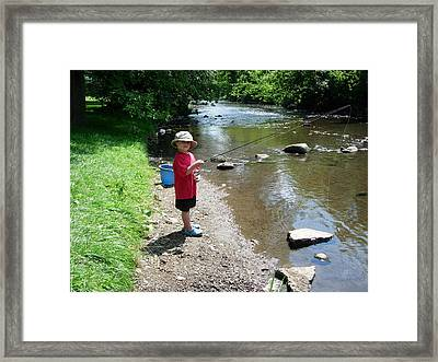 Boy Fishing Framed Print by Andrea Kilbane