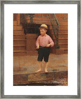 Boy Fishing At 58 And A Half East 10th Street, 1871 Framed Print
