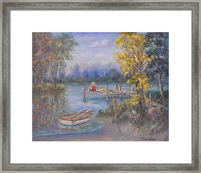 Boy Fishing On Dock And Boat On Lake Framed Print