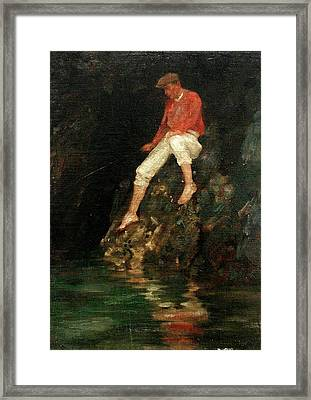 Framed Print featuring the painting Boy Fishing On Rocks  by Henry Scott Tuke