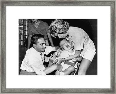 Boy Gets Measles Vaccine  Shot Framed Print