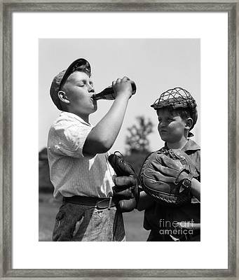 Boy Hogging Soda, C.1930s Framed Print by H. Armstrong Roberts/ClassicStock