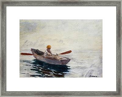Boy In A Boat Framed Print by Winslow Homer