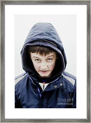 Boy In A Hoodie Framed Print by Tom Gowanlock