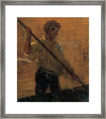 Framed Print featuring the painting Boy In A Punt by Henry Scott Tuke