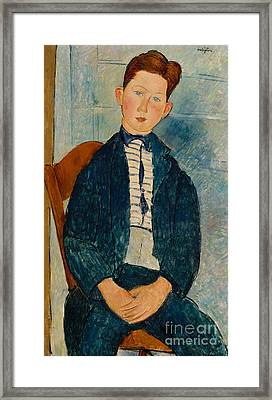 Boy In A Striped Sweater, 1918 Framed Print by Amedeo Modigliani