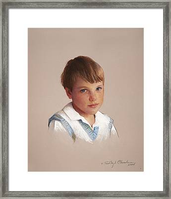 Boy In Blue Framed Print