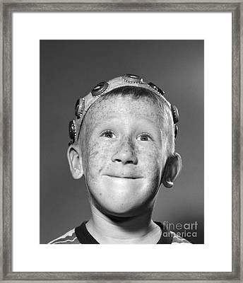 Boy In Bottle Cap Beanie, C.1950s Framed Print by Debrocke/ClassicStock