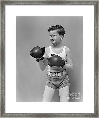 Boy In Boxing Gear, C.1940s Framed Print by H. Armstrong Roberts/ClassicStock