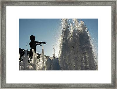 Boy In Fountain Framed Print by Samantha Kimble