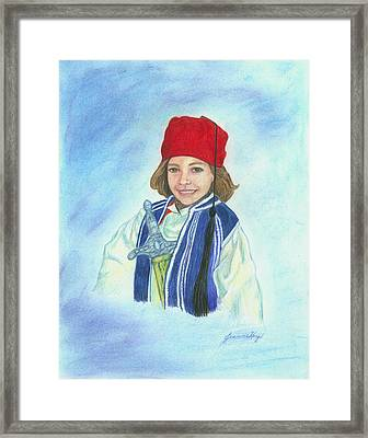 Framed Print featuring the painting Boy In Greek Costume by Jeanne Kay Juhos