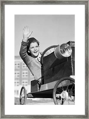 Boy In In Go-cart, C.1940-30s Framed Print