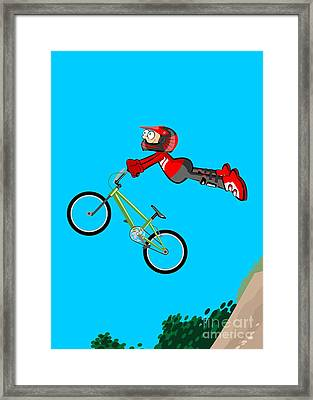 Boy Jumping High From An Embankment With His Bmx Bicycle Framed Print