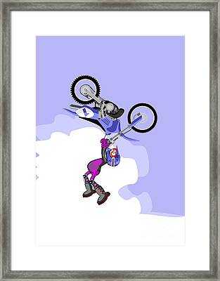 Boy Jumping High With His Blue Motocross Framed Print