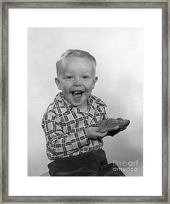 Boy Laughing With Bread, C.1950s Framed Print