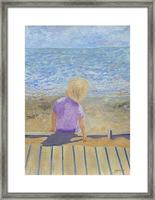 Boy Lost In Thought Framed Print