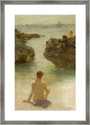 Framed Print featuring the painting Boy On A Beach, 1901 by Henry Scott Tuke