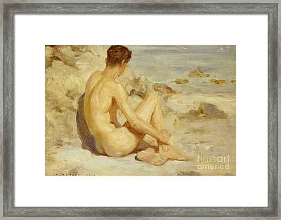 Boy On A Beach Framed Print by Henry Scott Tuke