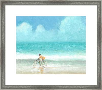 Boy On A Bike Framed Print by Lincoln Seligman