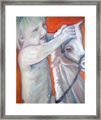 Boy On Rocking Horse Framed Print