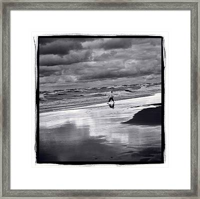Boy On Shoreline Framed Print