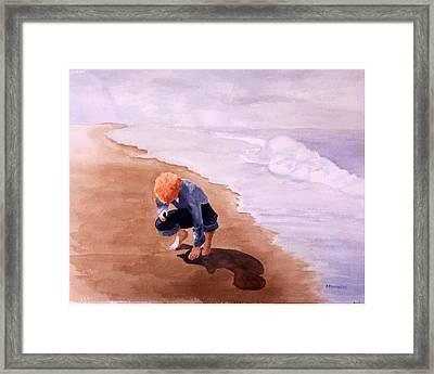 Boy On The Beach Framed Print by Robert Thomaston
