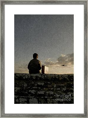 Boy On Wall Framed Print