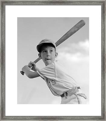 Boy Playing Baseball, C.1960s Framed Print by Debrocke/ClassicStock