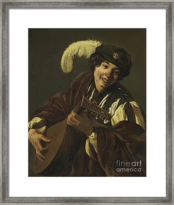 Boy Playing The Lute Framed Print by Hendrick Ter Brugghen
