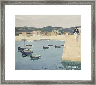 Boy Reading On A Harbour's Edge  Framed Print by William Strang